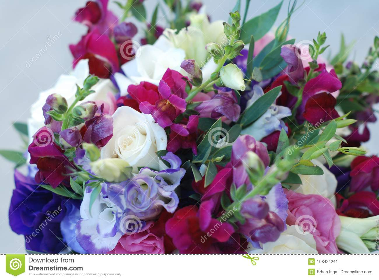 Close Up Of Wedding Or Bridal Bouquet Bunch Of Purple And Pink Mix