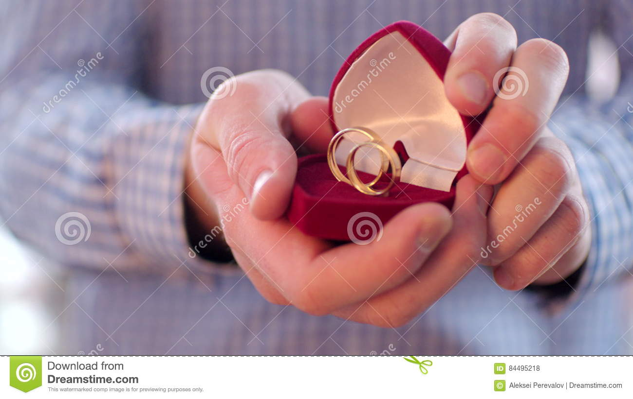 Close Up Of Wedding Rings In Mans Hands Stock Footage - Video of ...