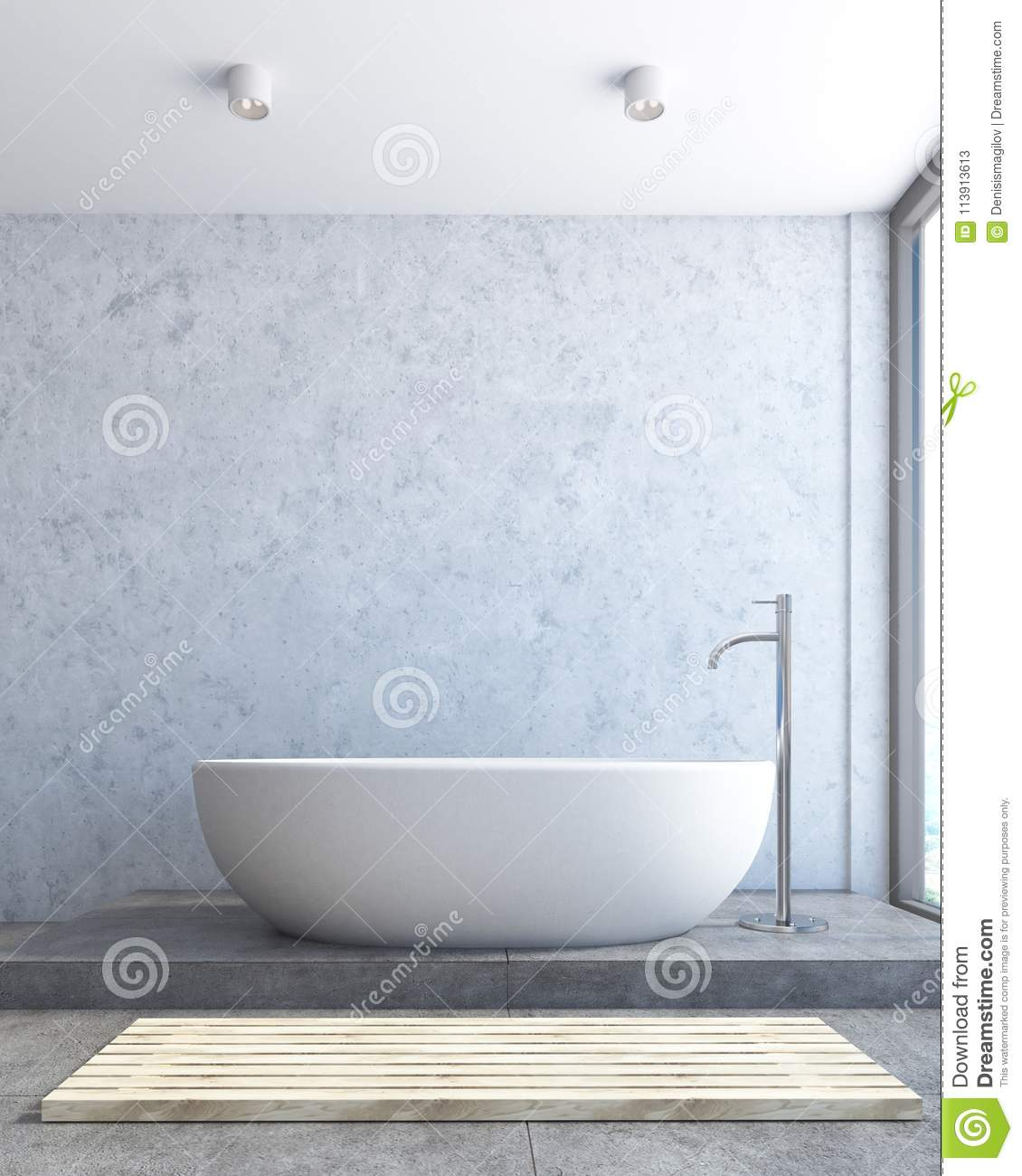 Close Up Of A White Bathtub, Concrete Bathroom Stock Illustration ...