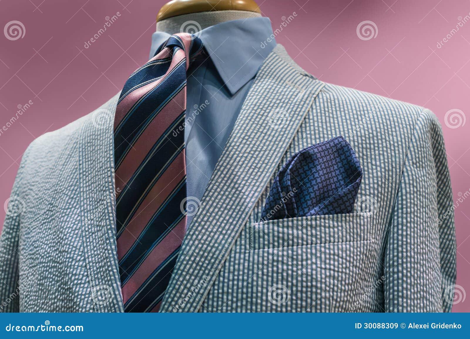 White & Blue Seersucker Jacket With Striped Tie Stock Image - Image ...