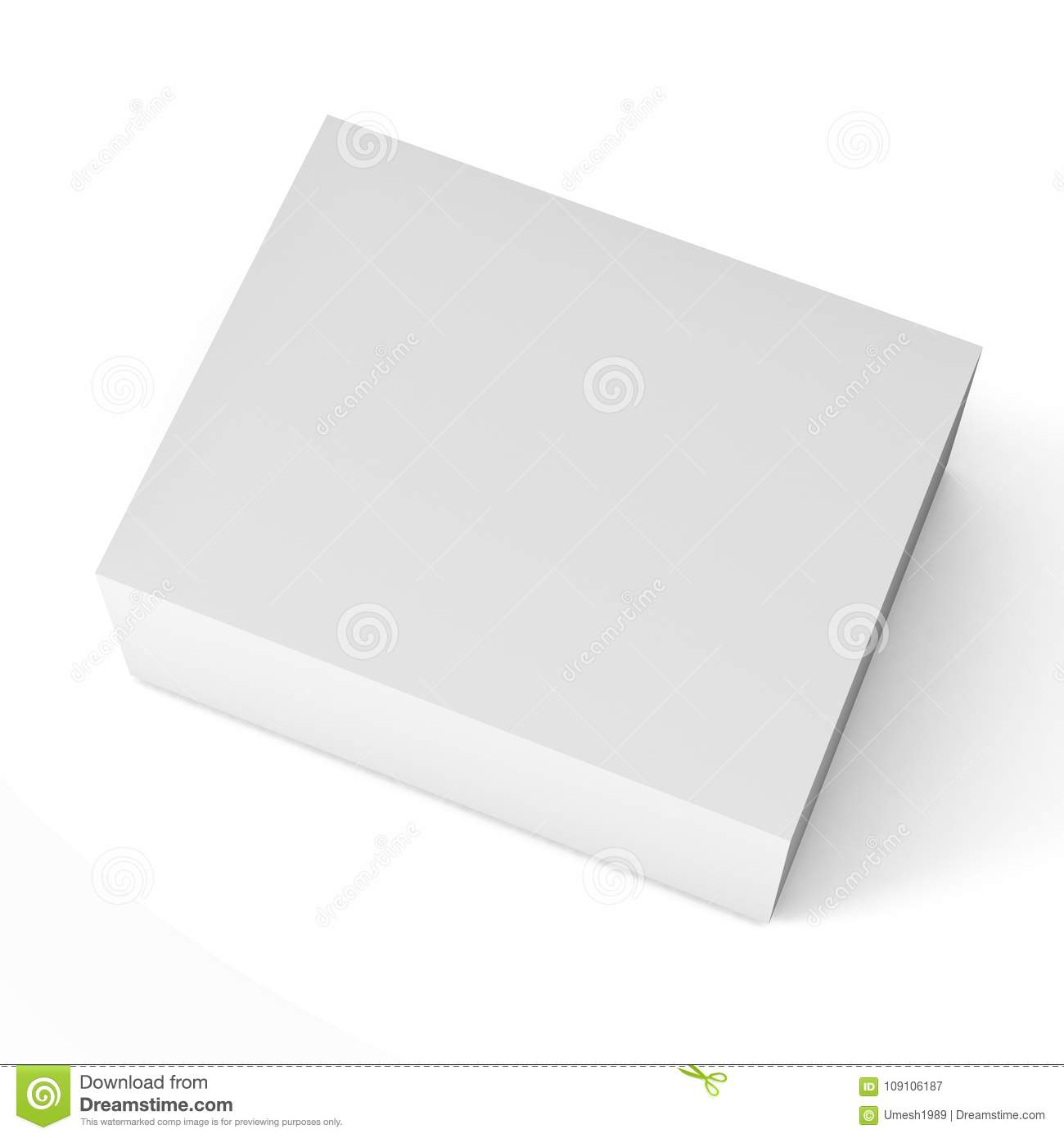 Close up of a white box template on white background Illustration