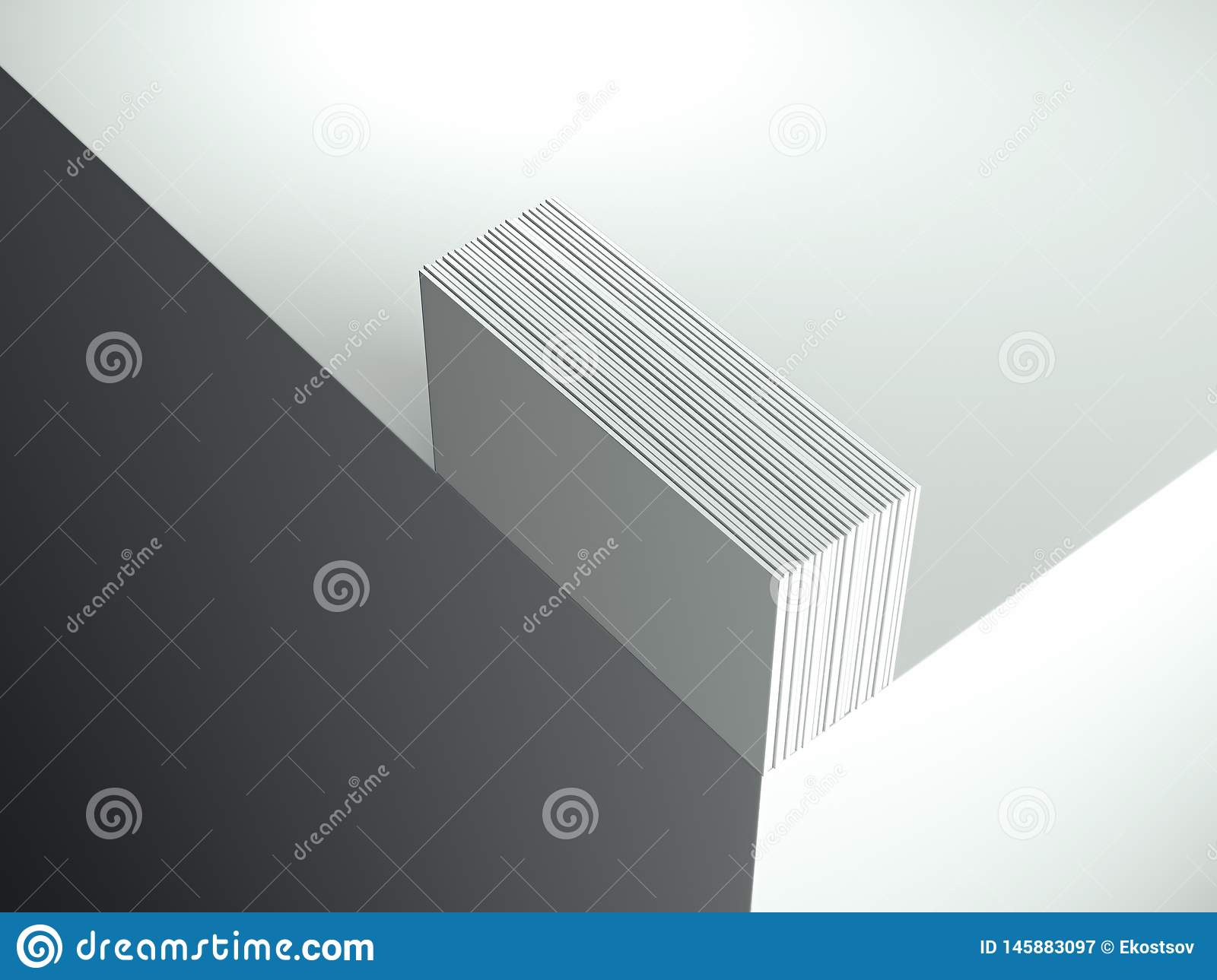 Close up of white business cards set on the corner, 3d rendering.