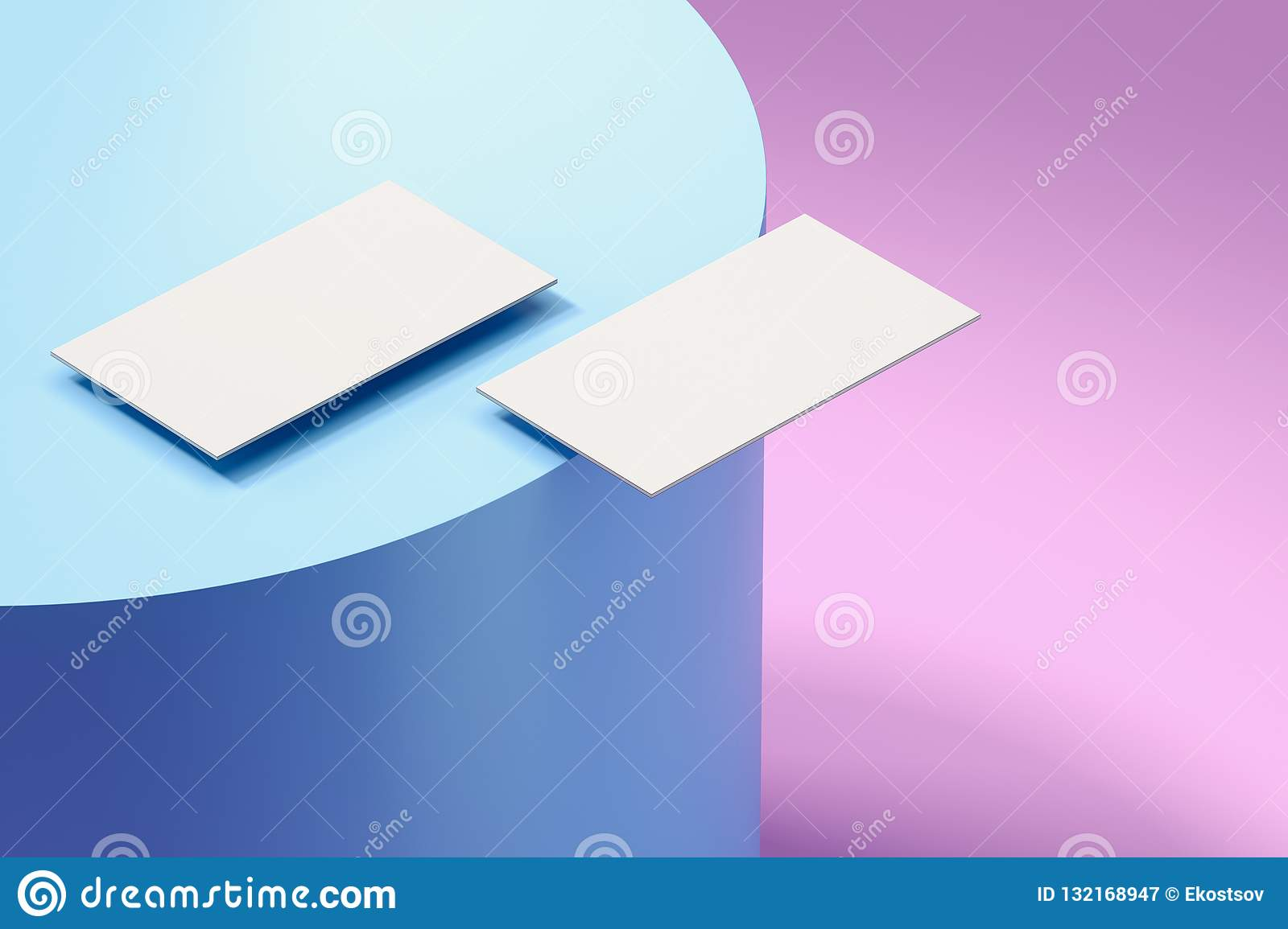 Close up of white business cards set on multicolored background, 3d rendering.