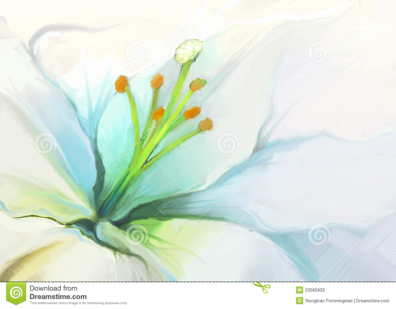 Close Up White Lily Flower Flower Oil Painting Stock Illustration Image 53