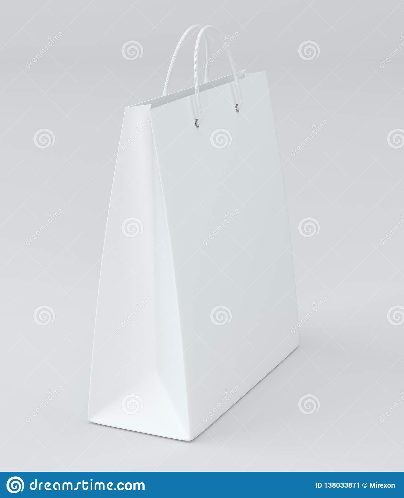 Close up of a white paper bag on white background with clipping path. 3d rendering