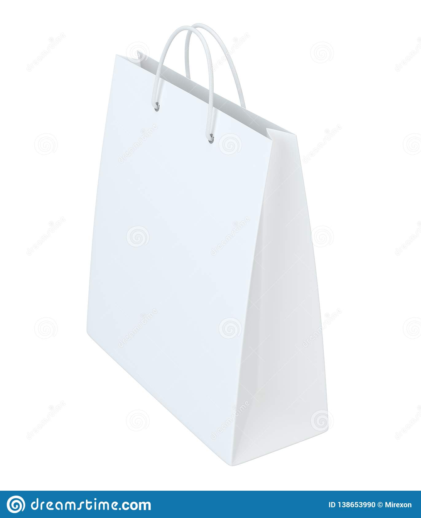 Close up of a white paper bag on white background with clipping path. Isolated on white background. 3d rendering