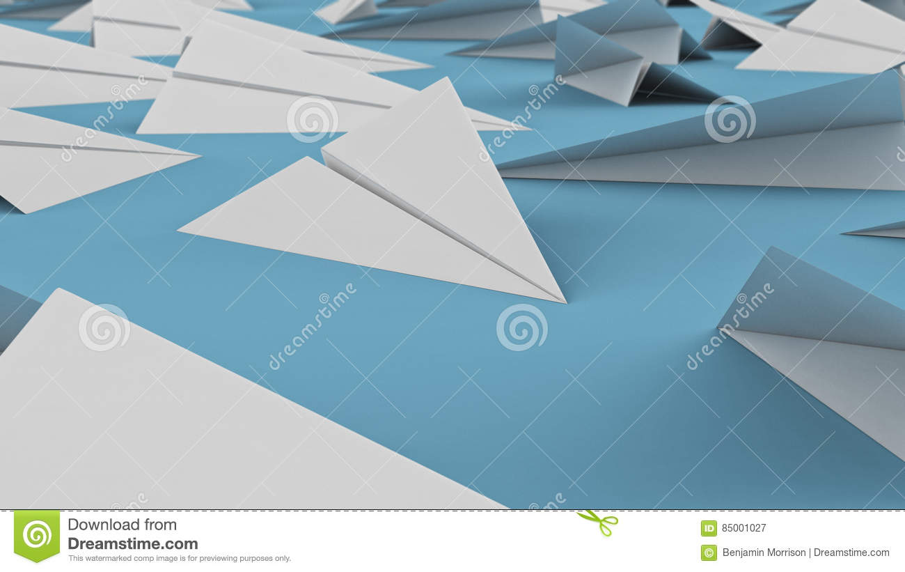 Close Up on White Paper Planes on Blue Surface