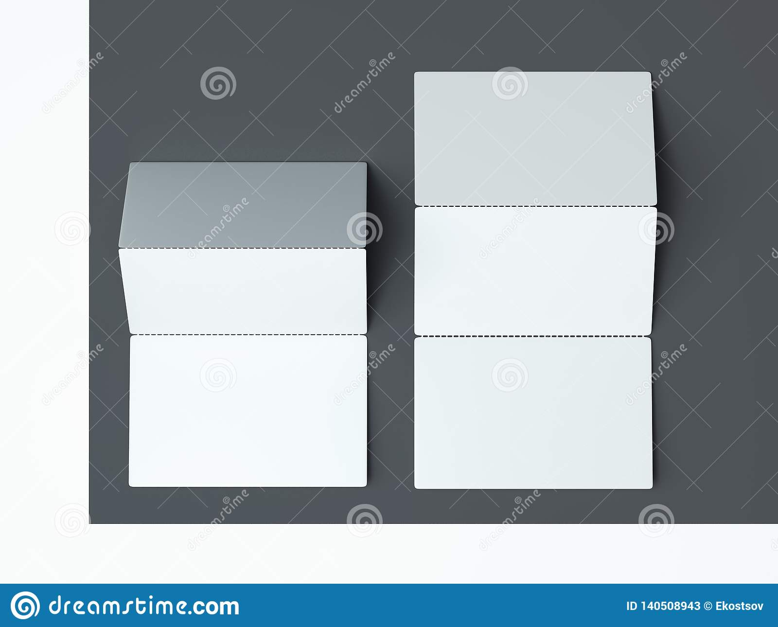 Close up of white business cards set on monochrome background, 3d rendering.