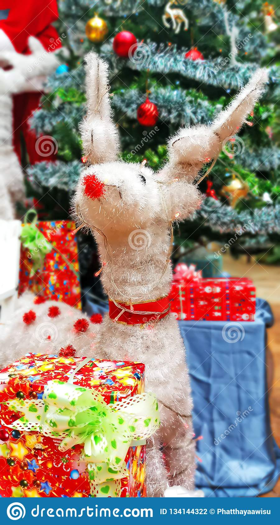 Close Up White Reindeer Christmas Tree Decorations And New ...