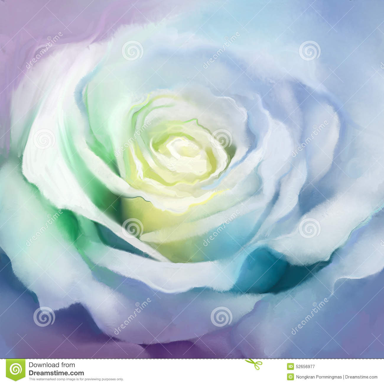 Close Up White Rose Petals Oil Painting Flower Stock Illustration Image