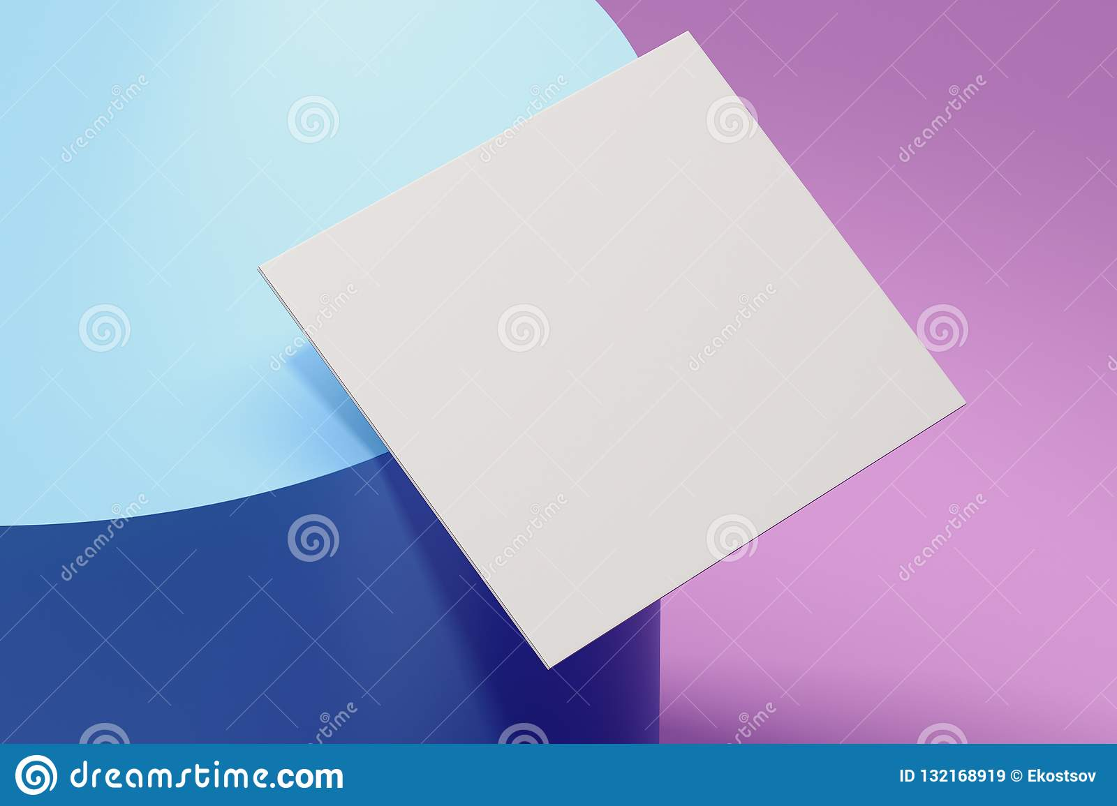 Close up of white sheet of paper on multicoloredbackground, 3d rendering.