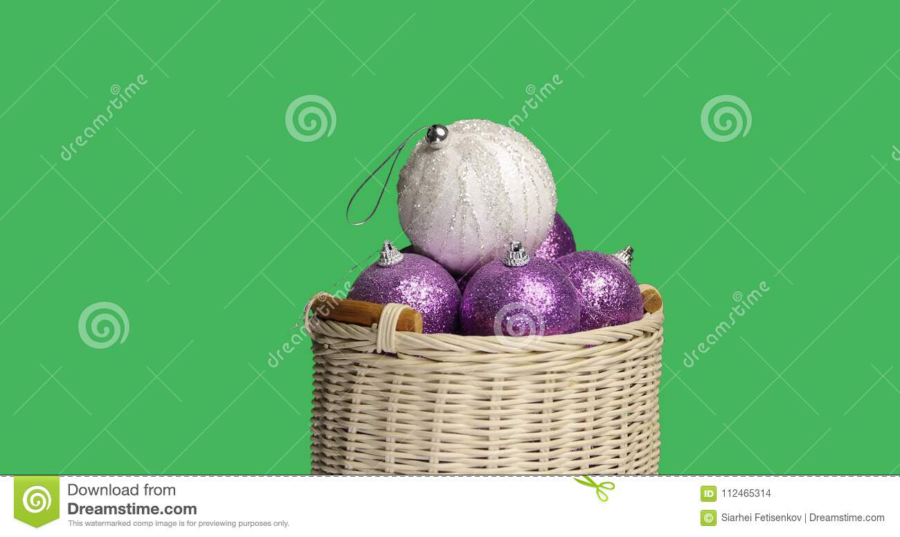 wicker basket with violet christmas balls isolated on green screen chroma key background stock footage video of small antique 112465314