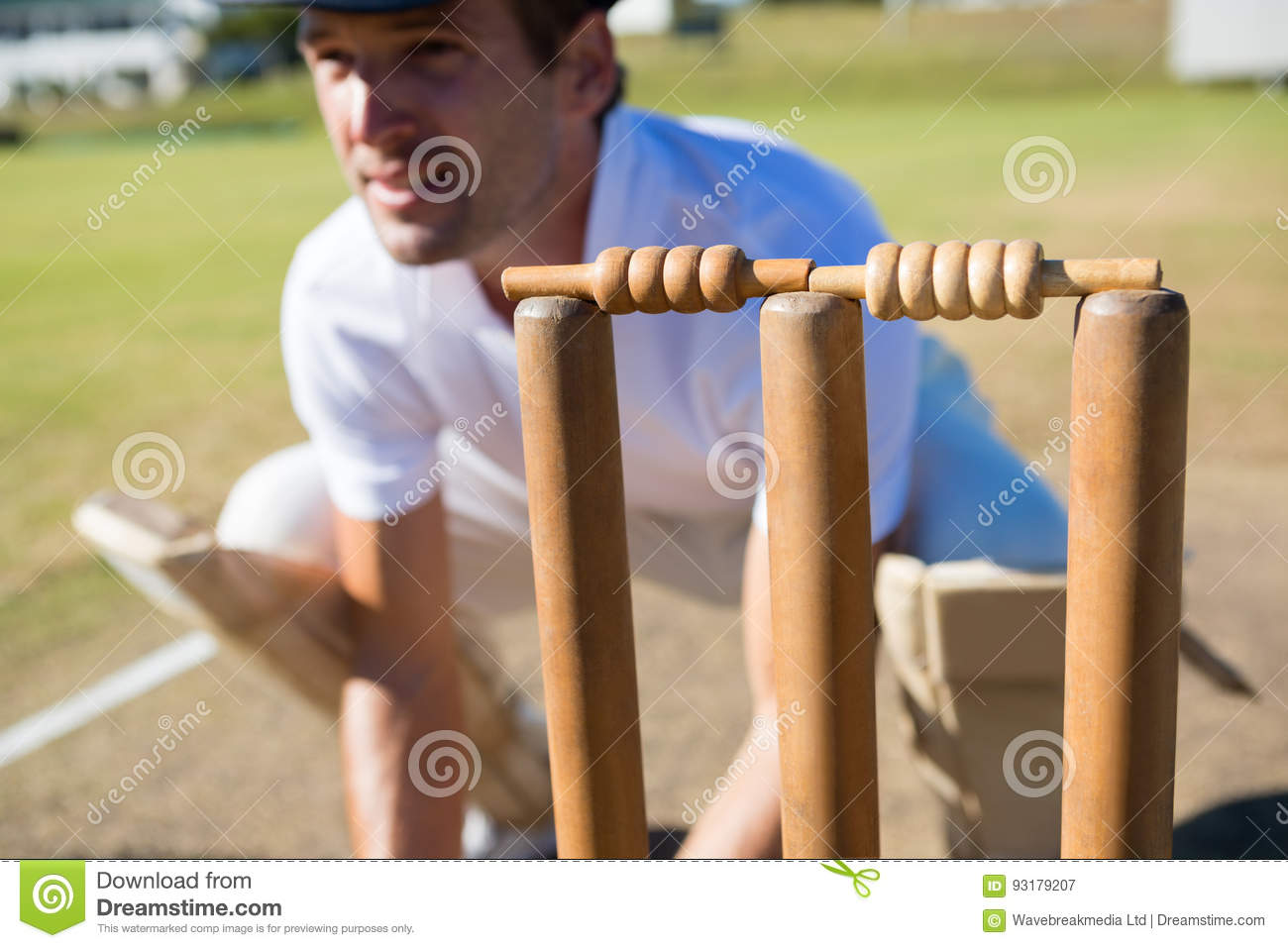 Close up of wicket keeper crouching by stumps