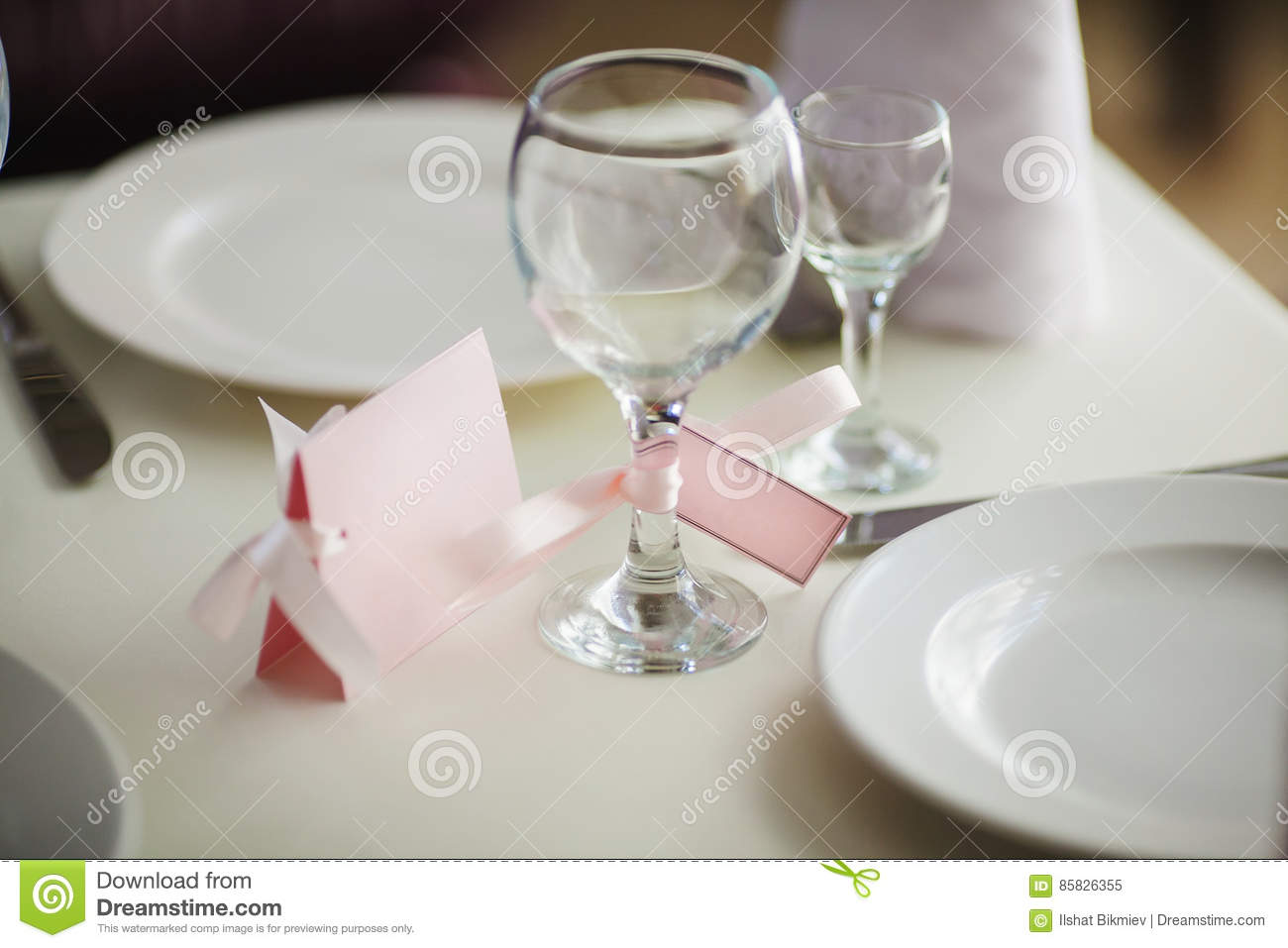 Close Up Of Wine Glass And Name Card. Table Setting Stock Image ...