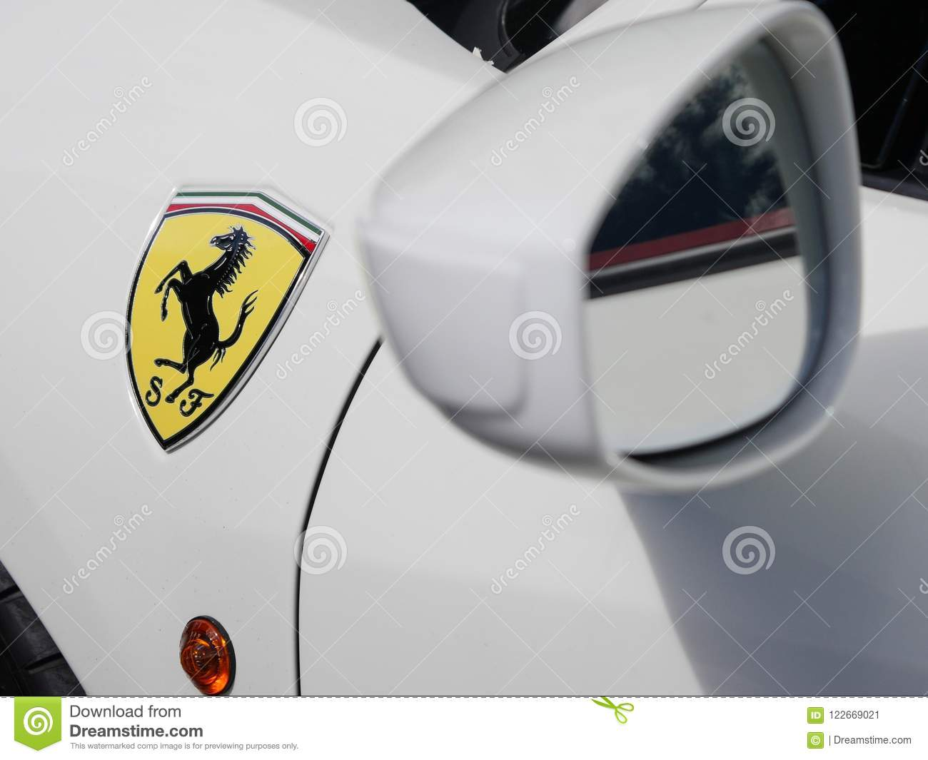 Close Up Wing Mirror And Badge On White Ferrari Car Editorial Photo
