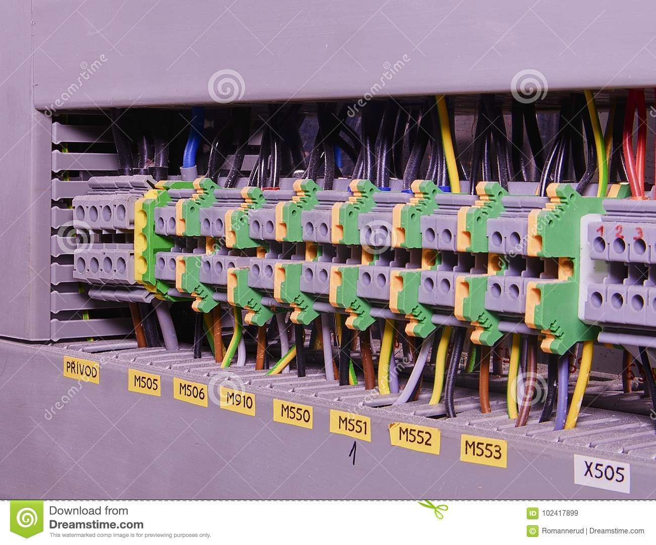 Fine Close Up Wiring Connectors Or Terminal Block For Industrial Wiring 101 Breceaxxcnl