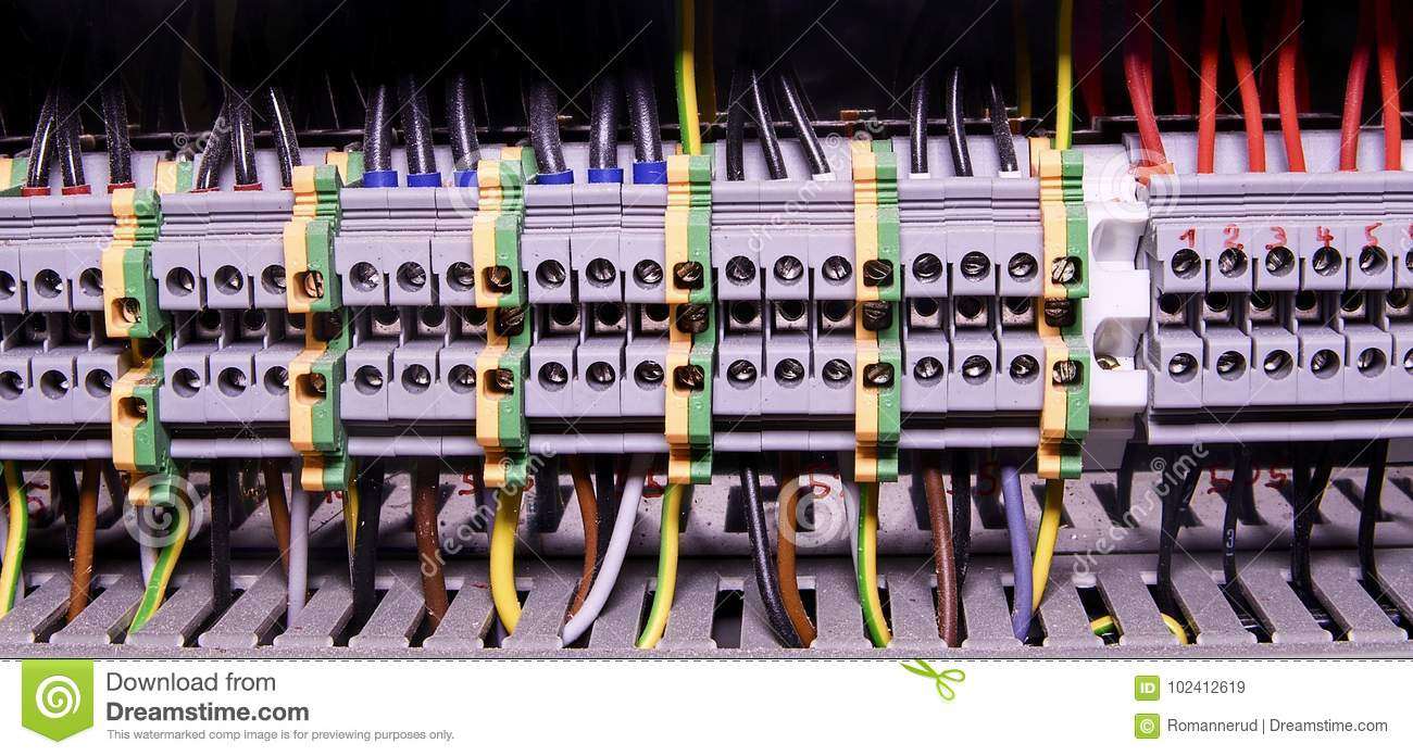 close up wiring connectors or terminal block for industrial rh dreamstime com industrial electrical wiring diagram symbols industrial electrical wiring standards