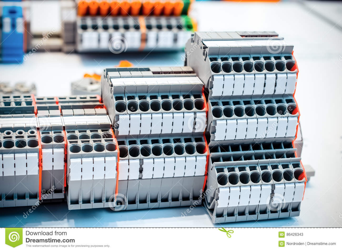 Outstanding Close Up Wiring Connectors Terminal Blocks Stock Image Image Of Wiring 101 Breceaxxcnl