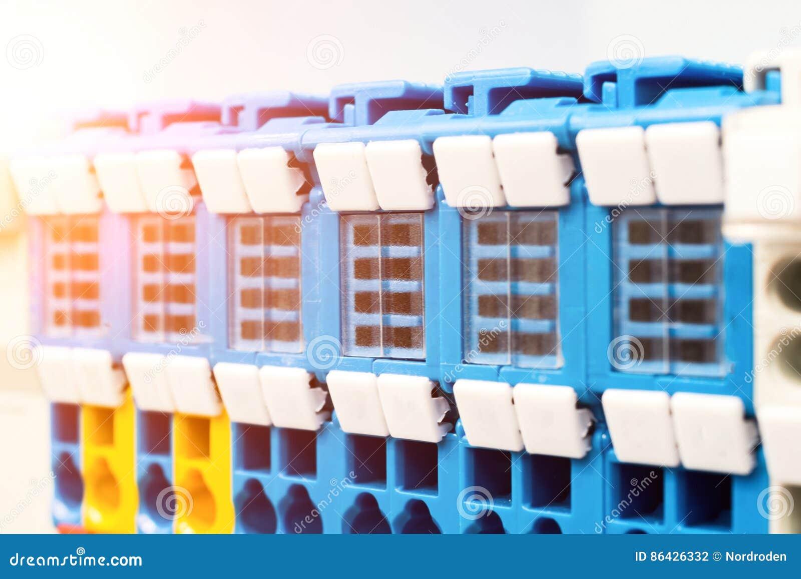 Close Up Wiring Connectors, Terminal Blocks. Stock Photo - Image of ...