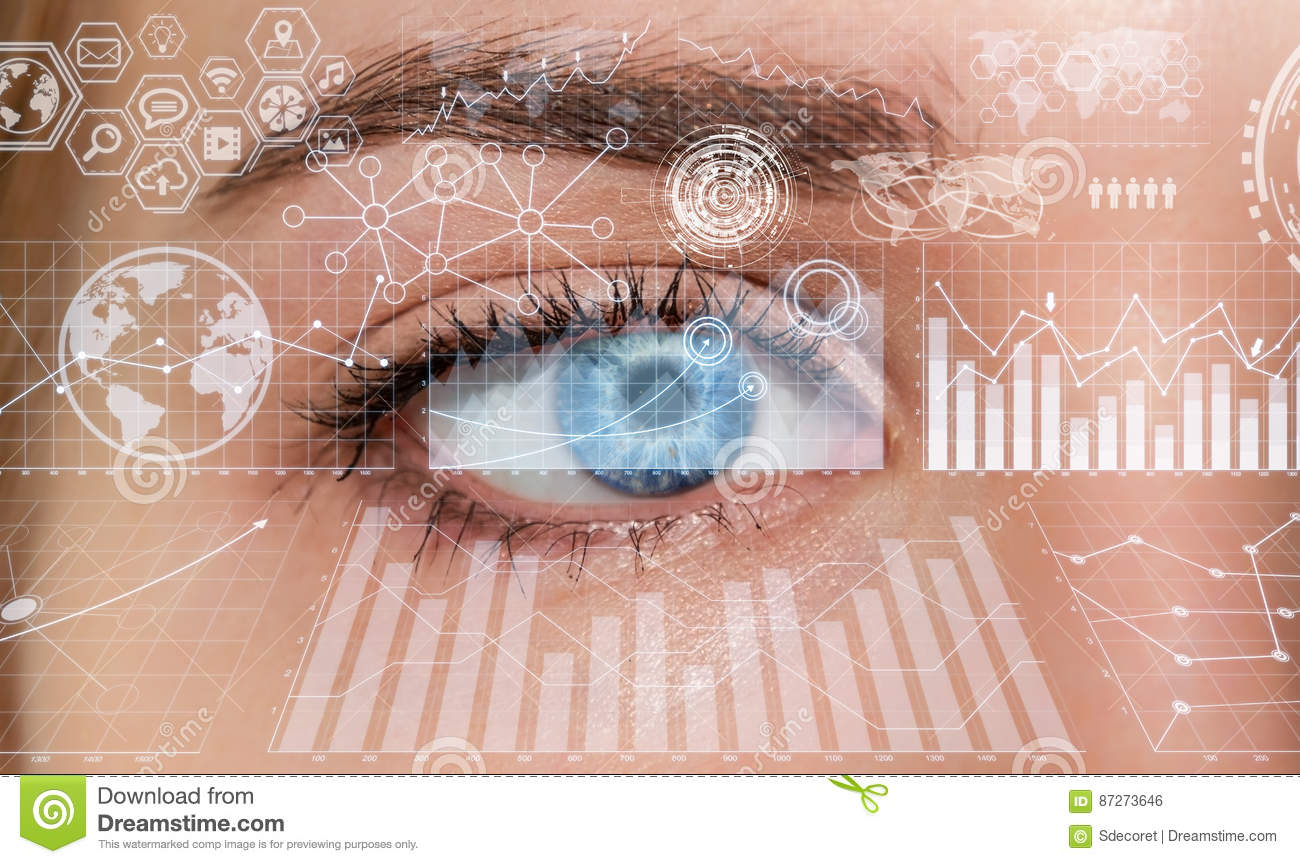 Close Up Of Woman Digital Eye 3d Rendering Stock Illustration