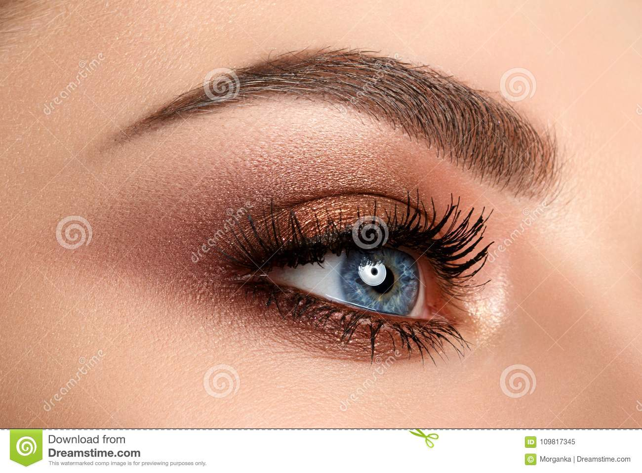 Close Up Of Woman Eye With Smokey Eyes Makeup Stock Image Image Of