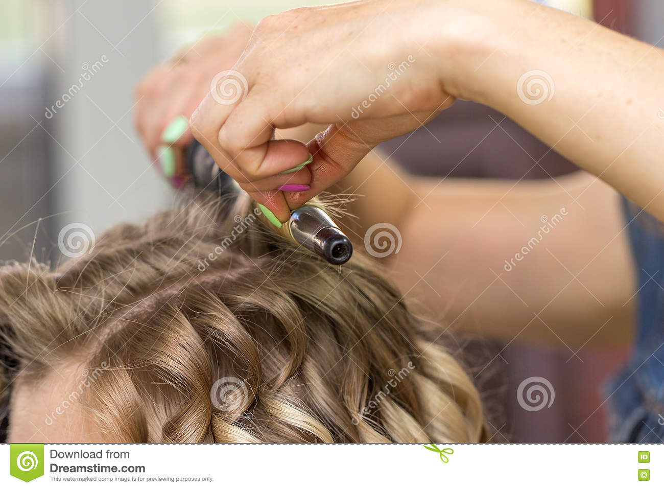 Close Up Of A Woman Hairdresser Making Curls Stock Image Image Of