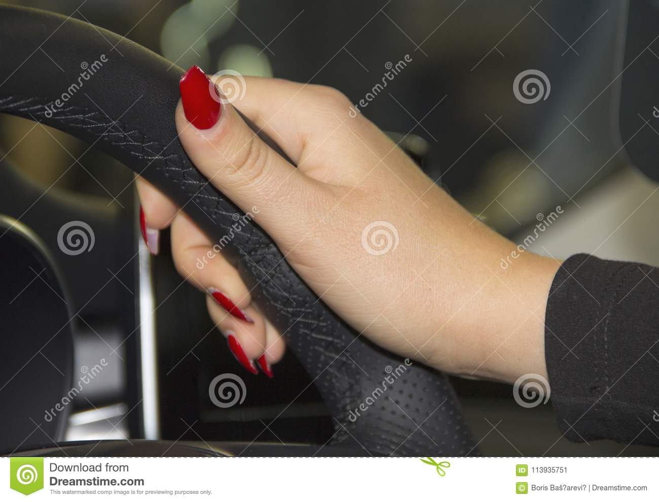 The Close Up Of Woman Hand With Red Nails On The Steering Wheel Stock Image Image Of Navigation Event 113935751