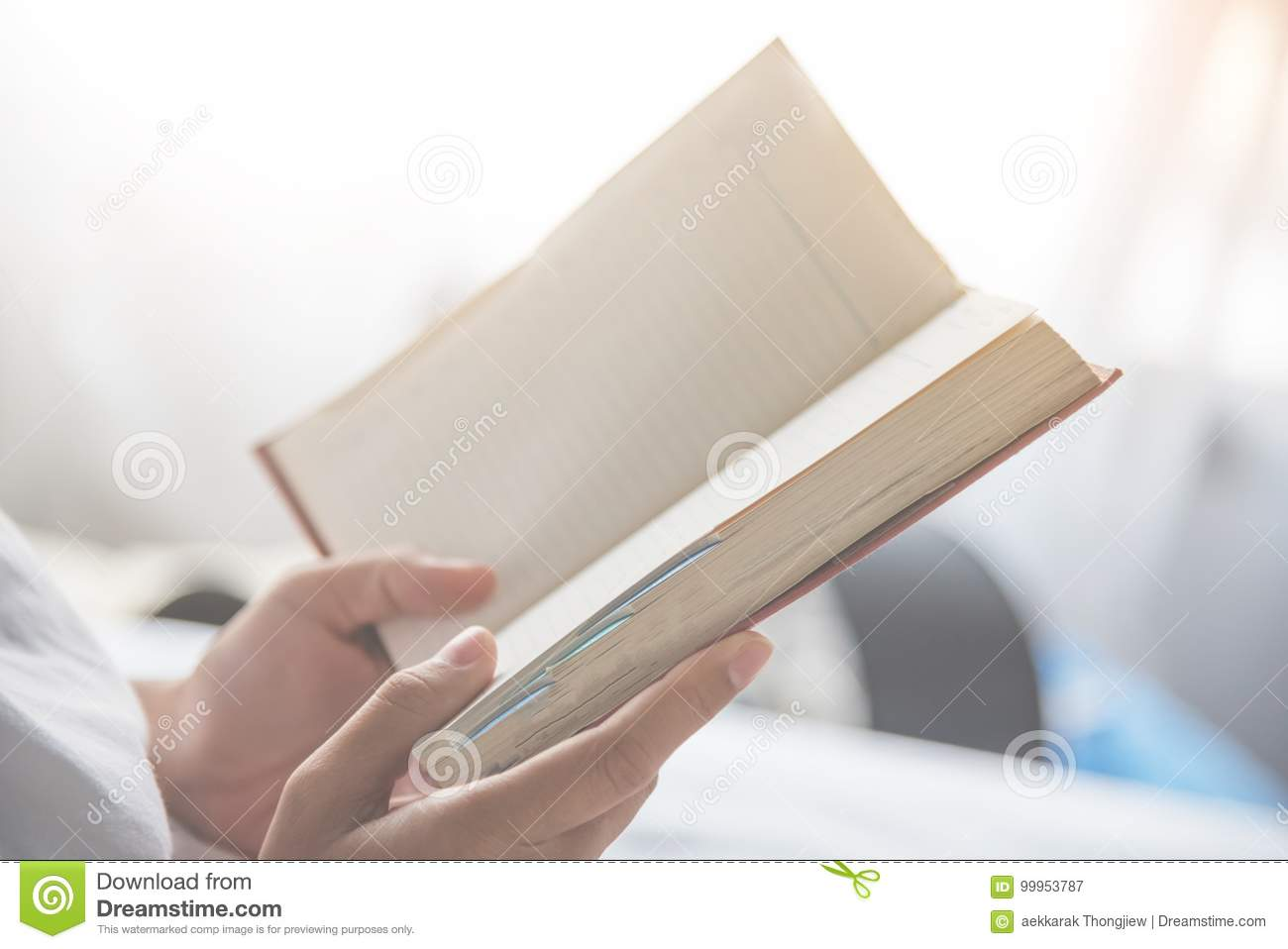 Close up woman hands holding a book