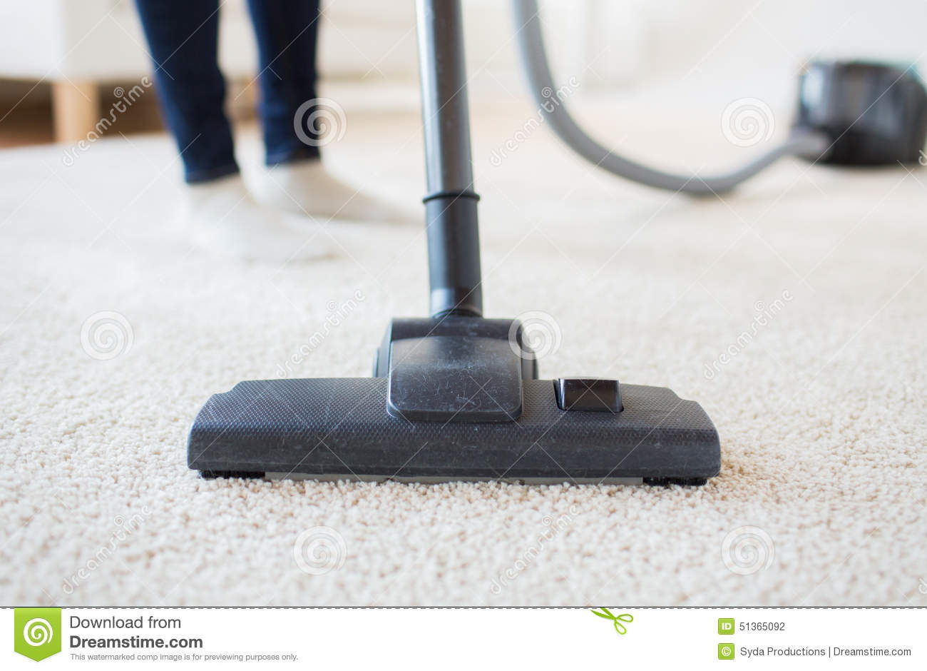 Woman Legs With Vacuum Cleaner Cleaning Floor Stock Photo ...