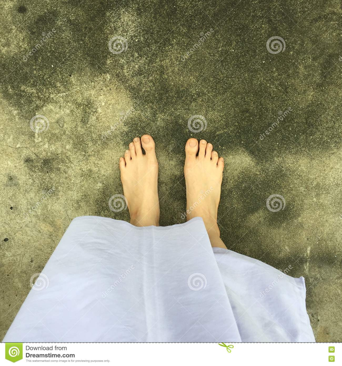 Using Meditation To Help Close >> Close Up Of A Woman S Feet Walking On Street Or Ground For