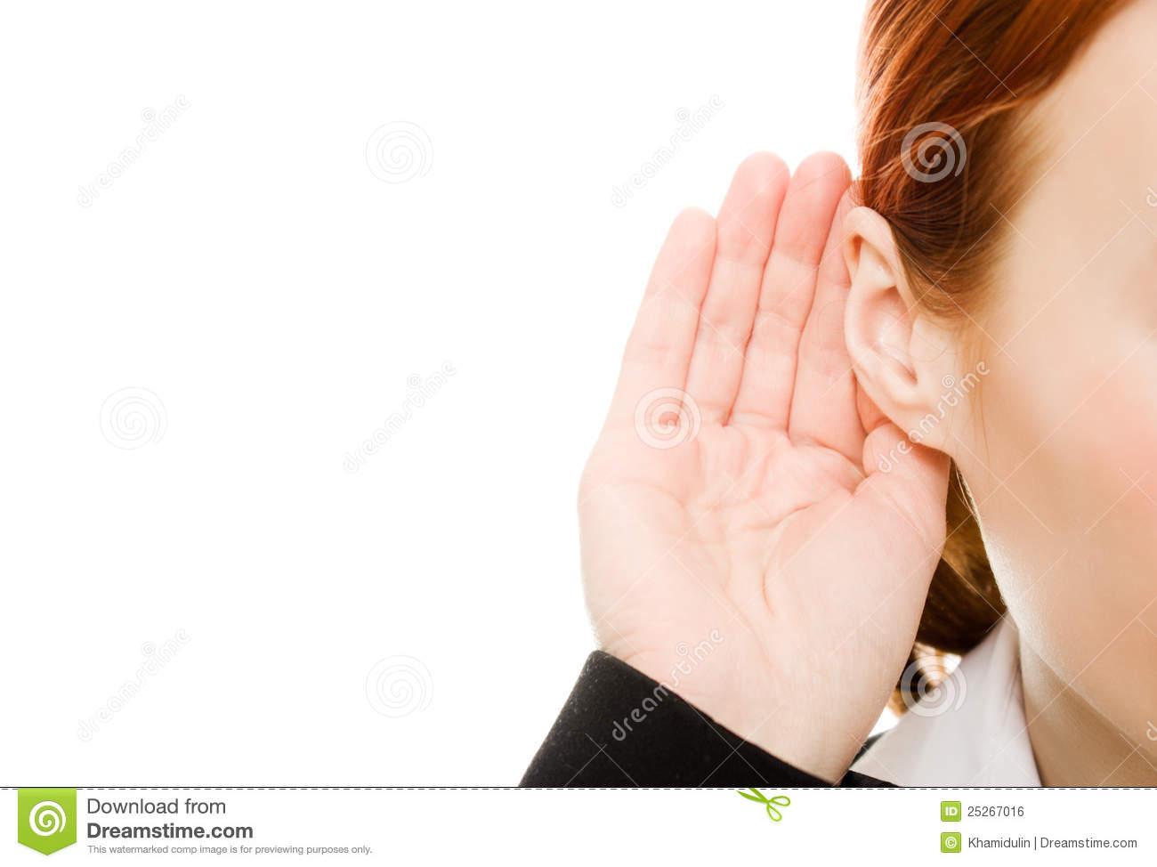 Close up of woman s hand to his ear .