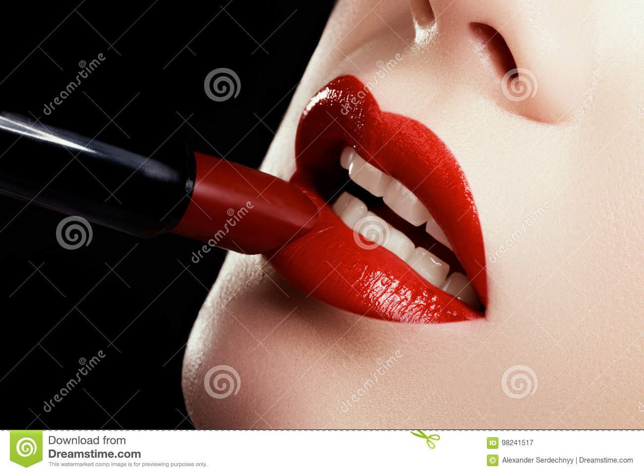 Close Up Of Woman S Lips With Fashion Red Make Up Beautiful