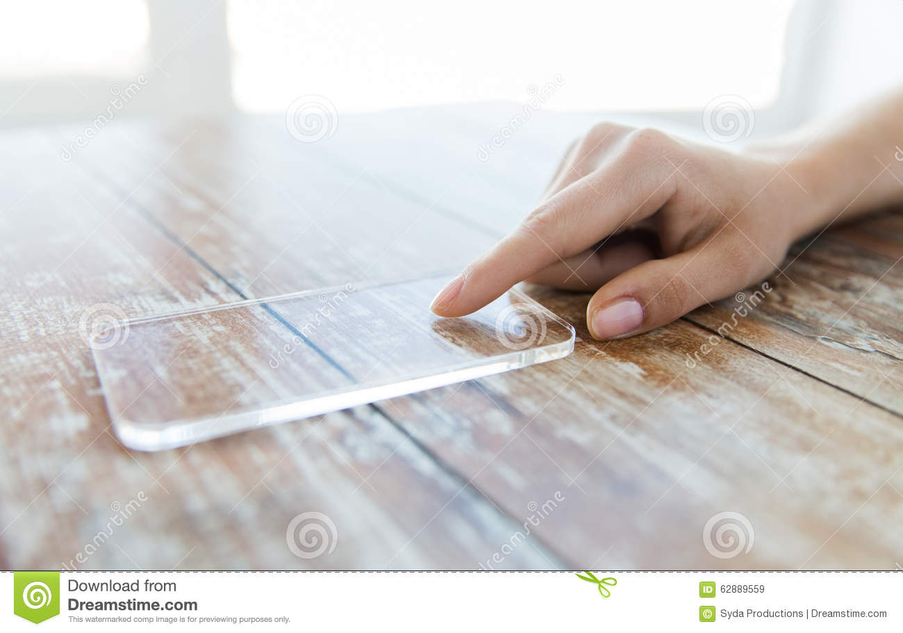 Technology Management Image: Close Up Of Woman With Transparent Smartphone Stock Image