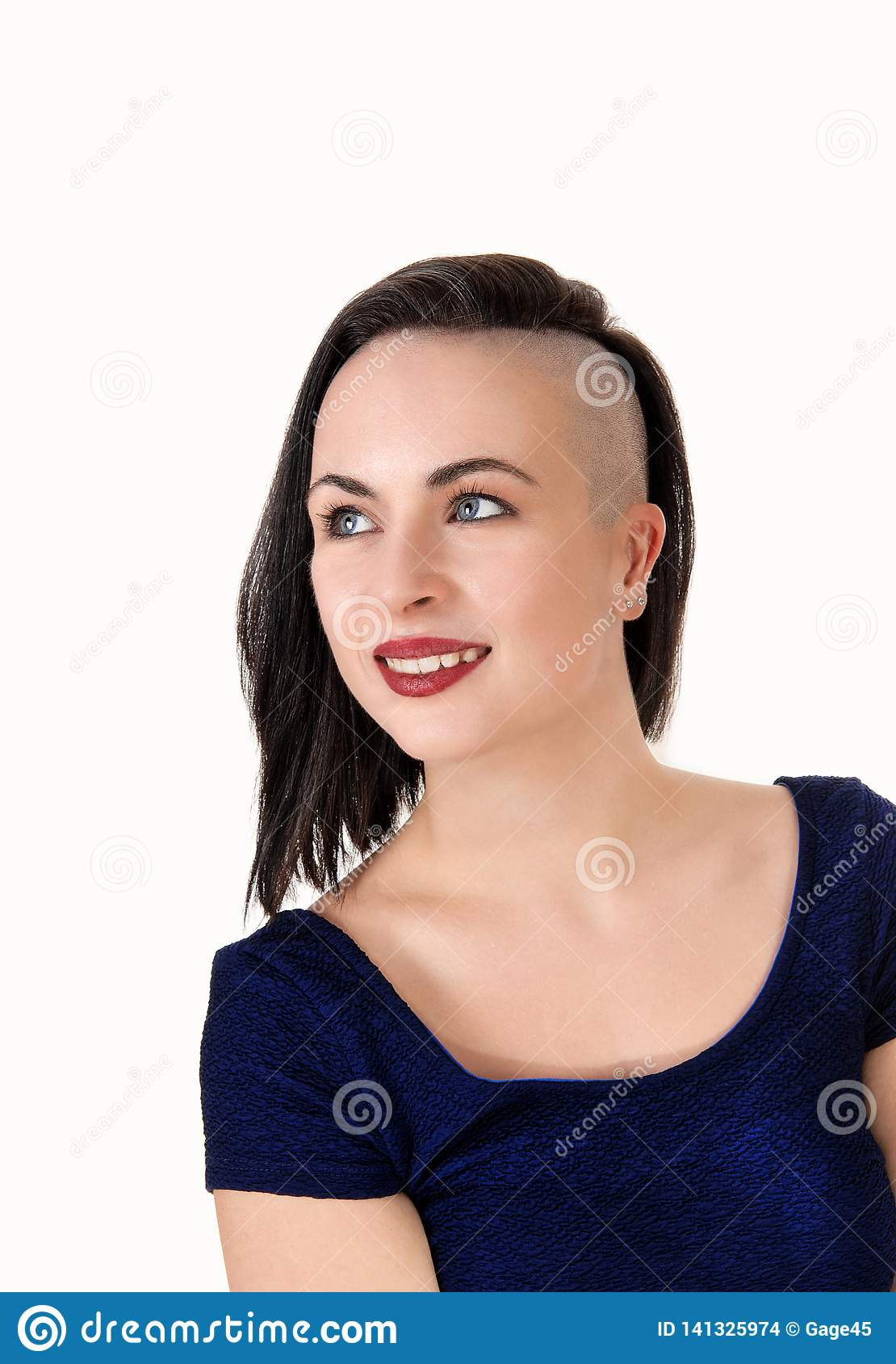 Close Up Of A Woman With A Very Fancy Haircut Stock Photo Image Of Eyes Background 141325974