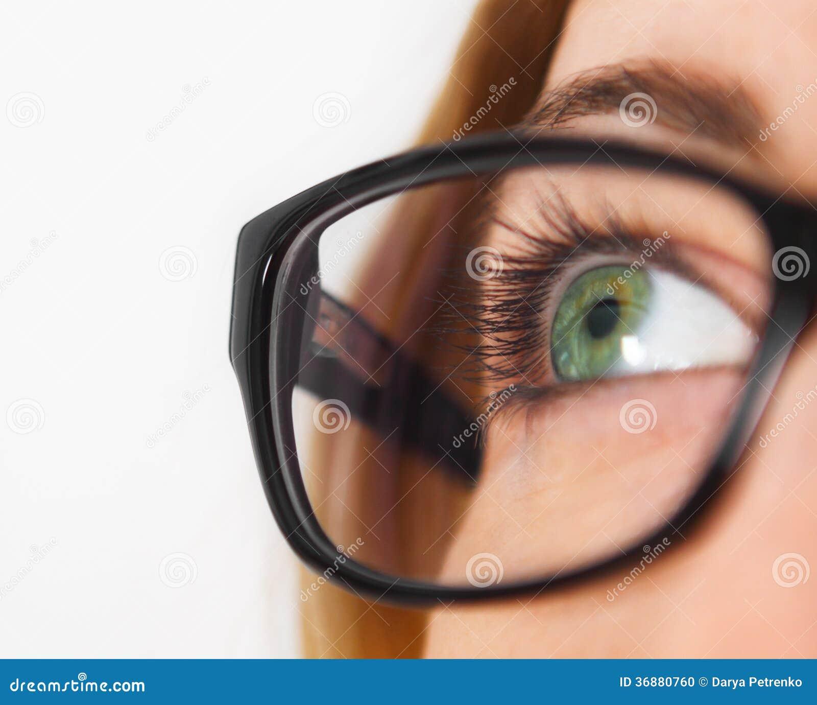 Close up of woman wearing black eye glasses