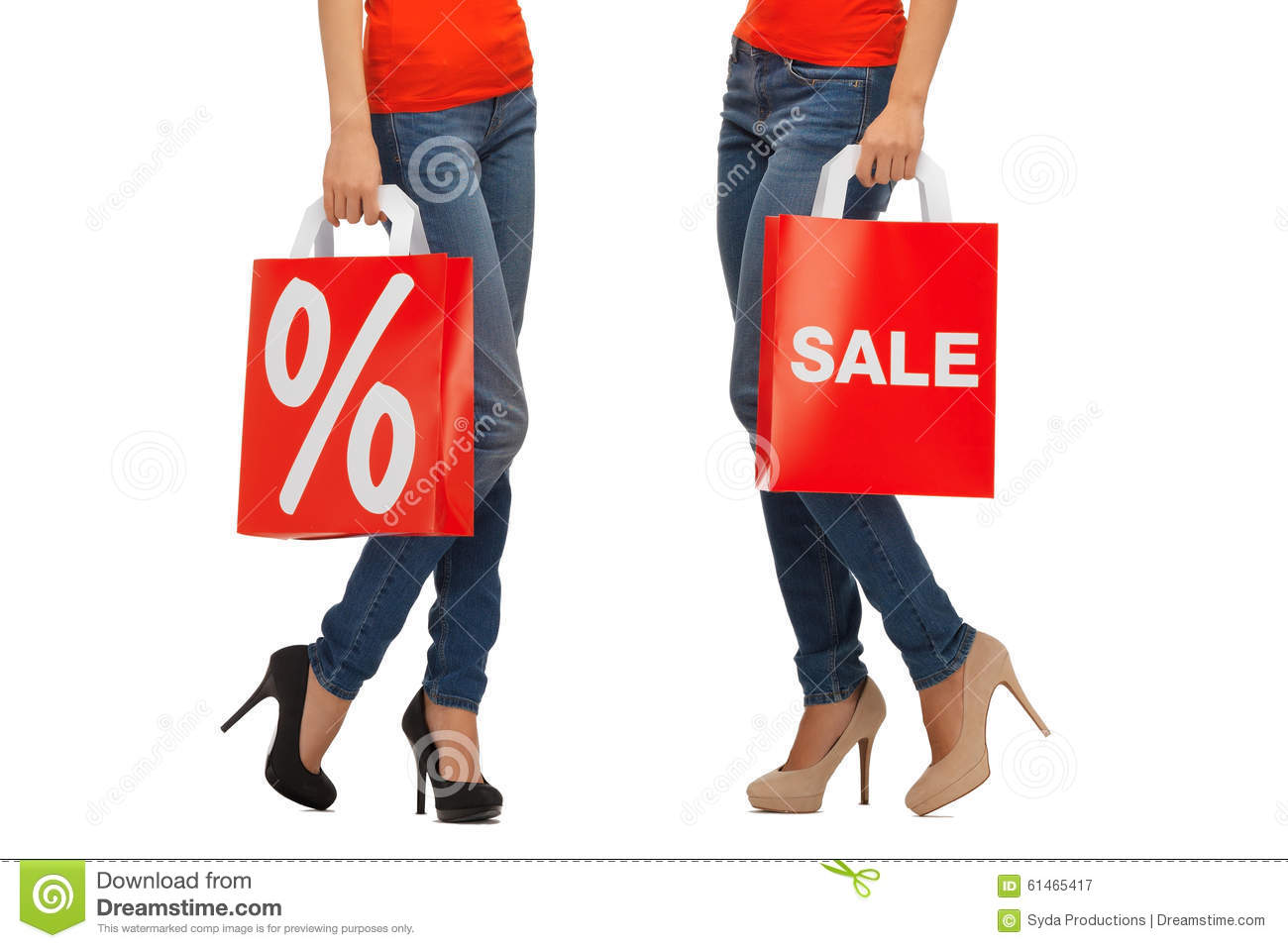 4153b44eb972 People, sale and discount concept - close up of women with percentage sign  on red shopping bag