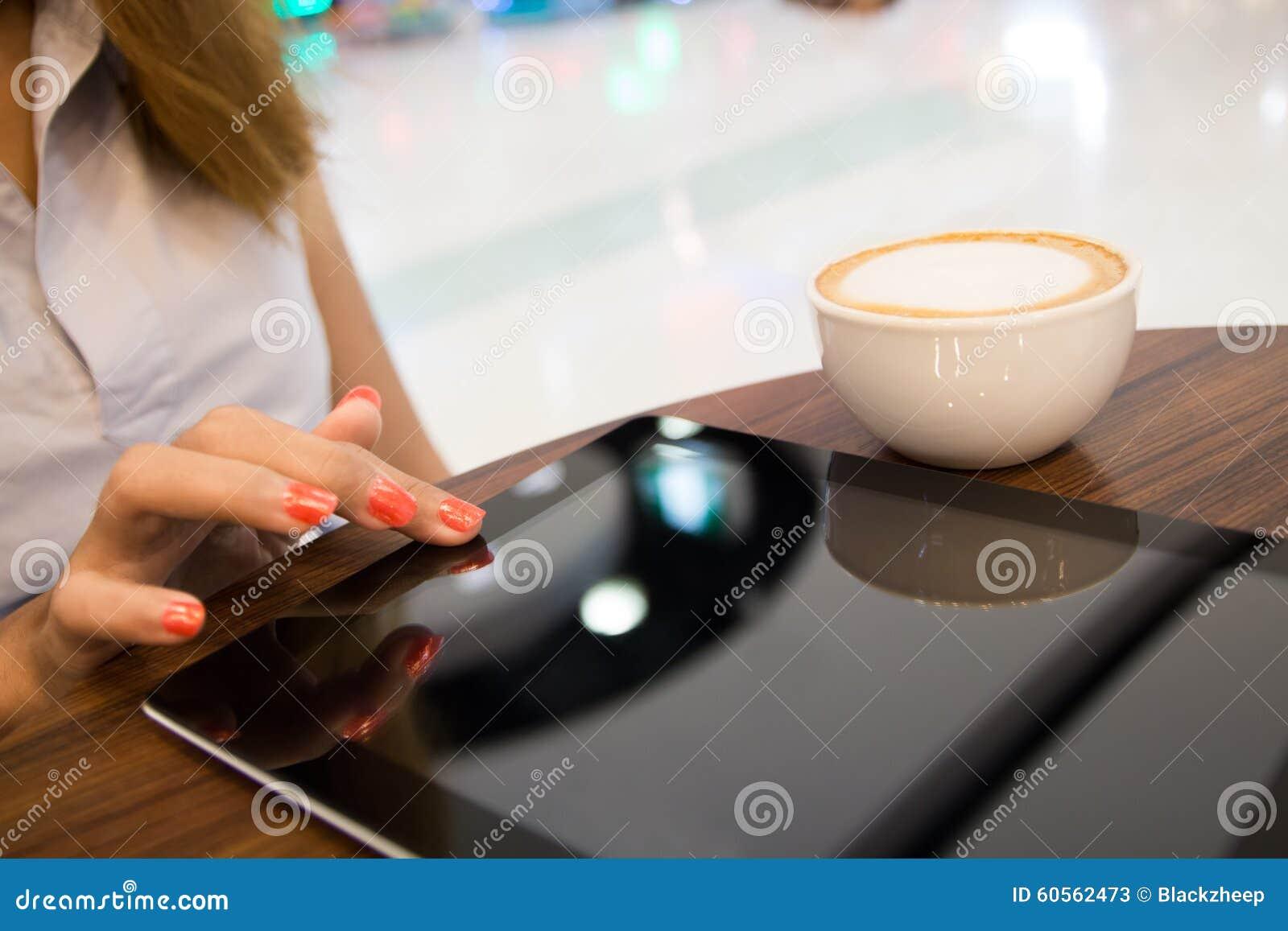close up women using tablet shopping online. Black Bedroom Furniture Sets. Home Design Ideas