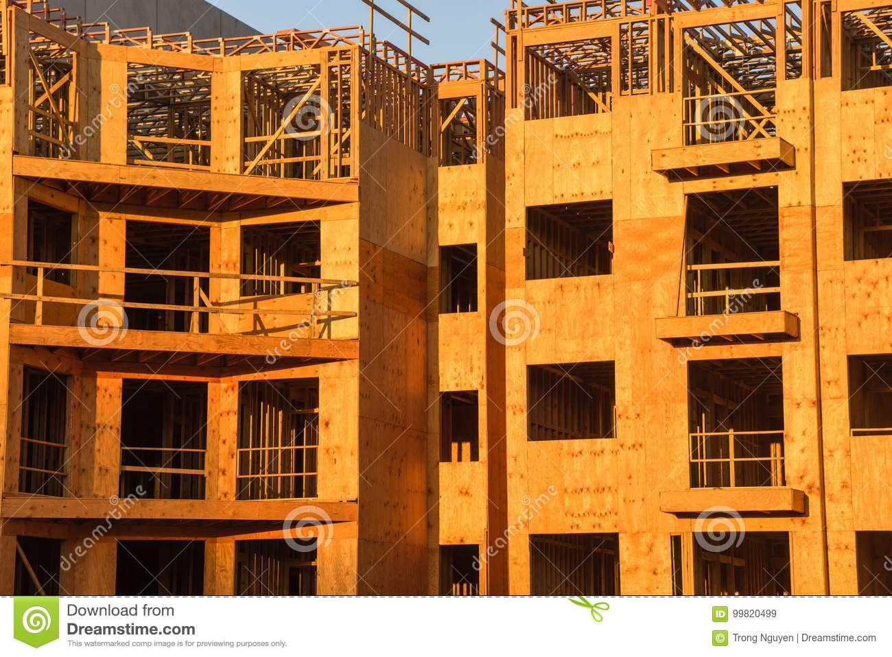 Wood Framing Apartment Complex Construction Stock Image
