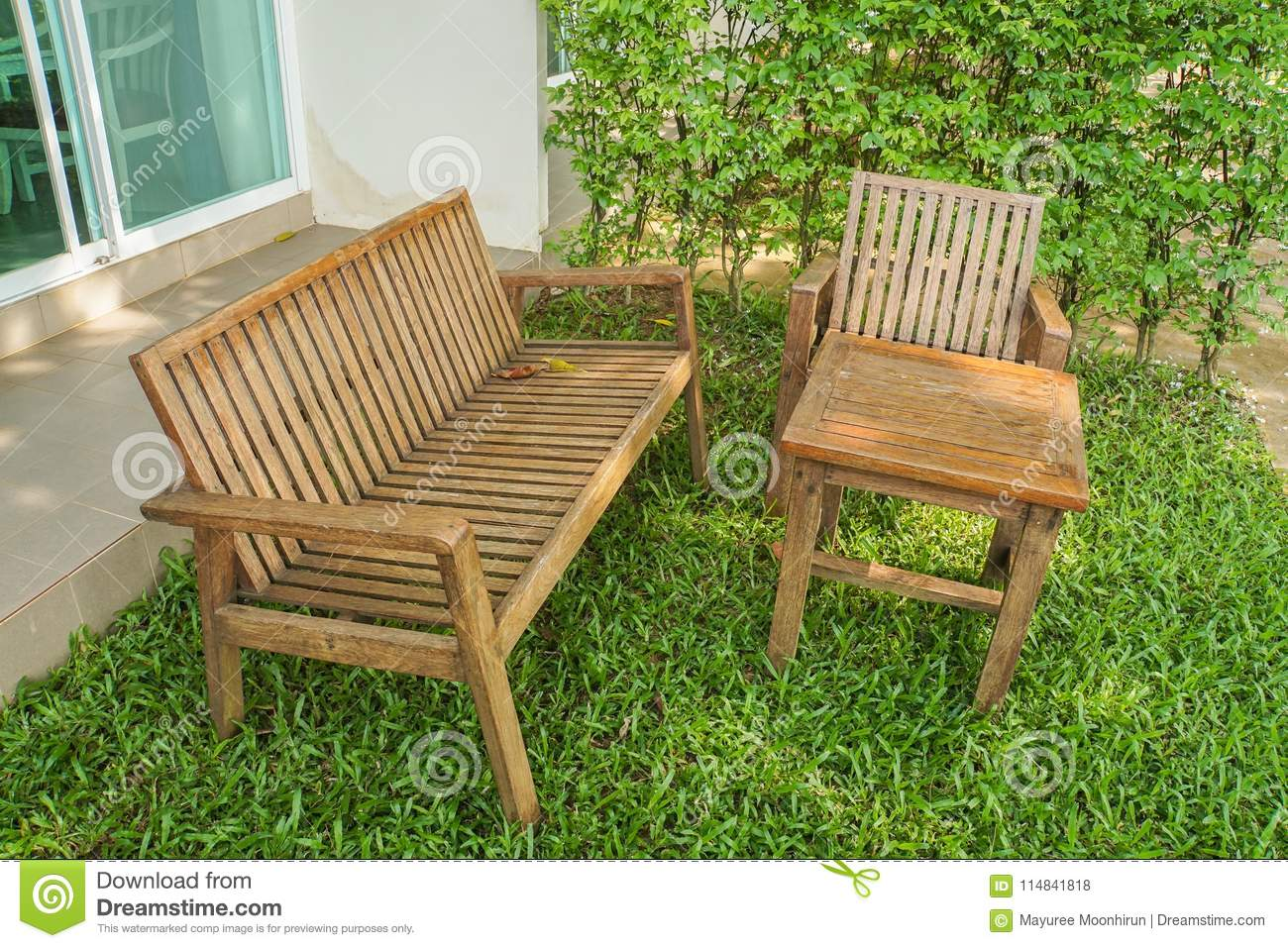 Super Wooden Bench And Chair On Green Lawn For Sitting Stock Photo Ocoug Best Dining Table And Chair Ideas Images Ocougorg