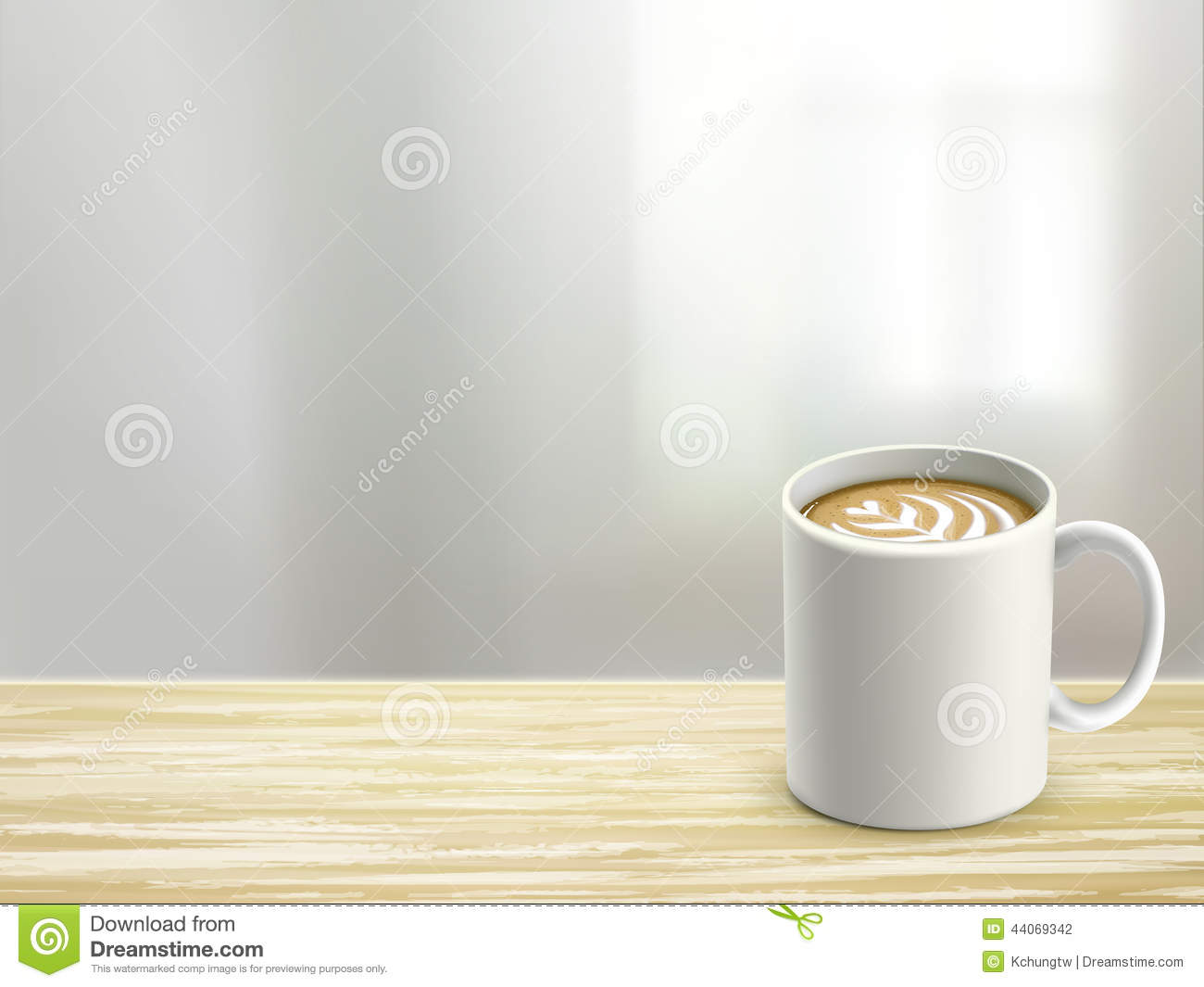 Close Up Of Wooden Desk And Coffee In Room Stock Vector
