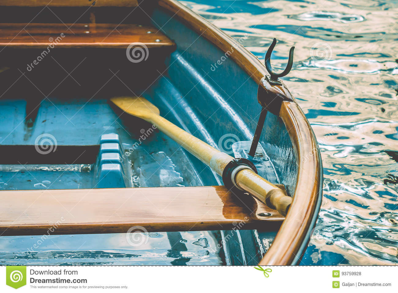 Download Close Up Of An Wooden Pleasure Rowboat At The Pier Of A Lake Stock Photo - Image of harbor, obsolete: 93759928