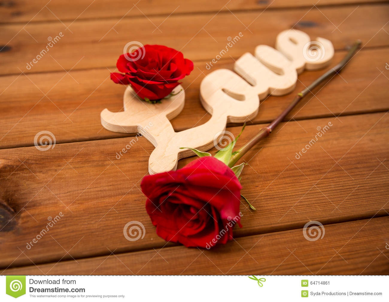 Close Up Of Word Love Cutout With Red Rose On Wood Stock Image ...