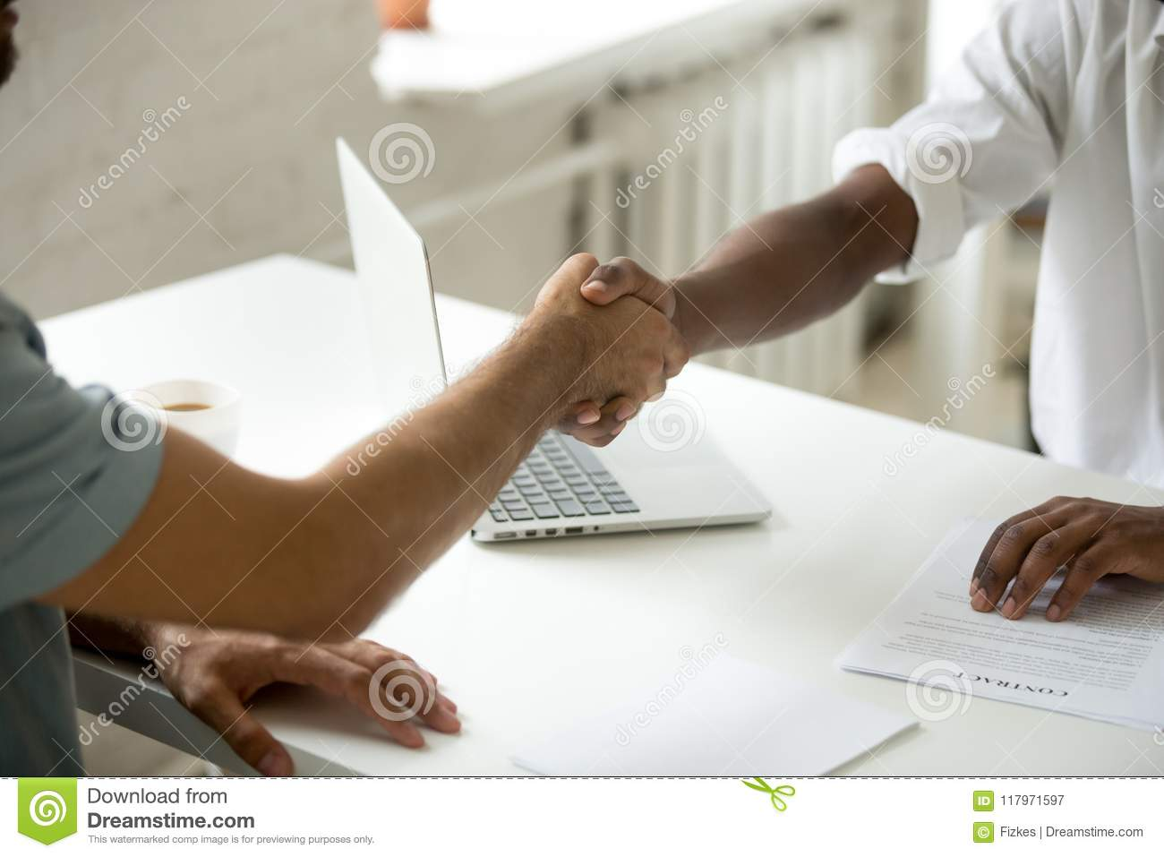 Close Up Of Work Employer Shaking Hand Of Job Applicant Stock Image