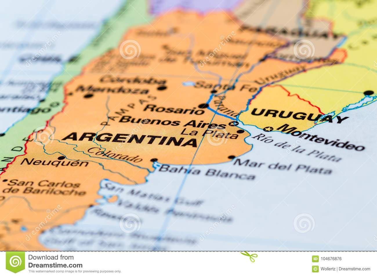 Argentina on a map stock photo. Image of object, detail - 104676876