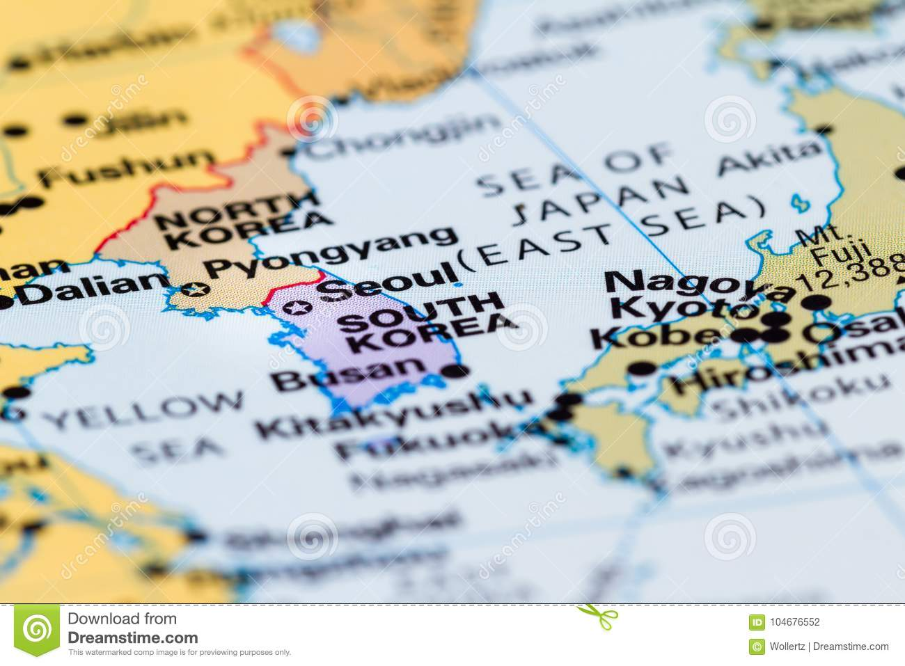 North And South Korea On A Map Stock Photo Image Of Area Friendly
