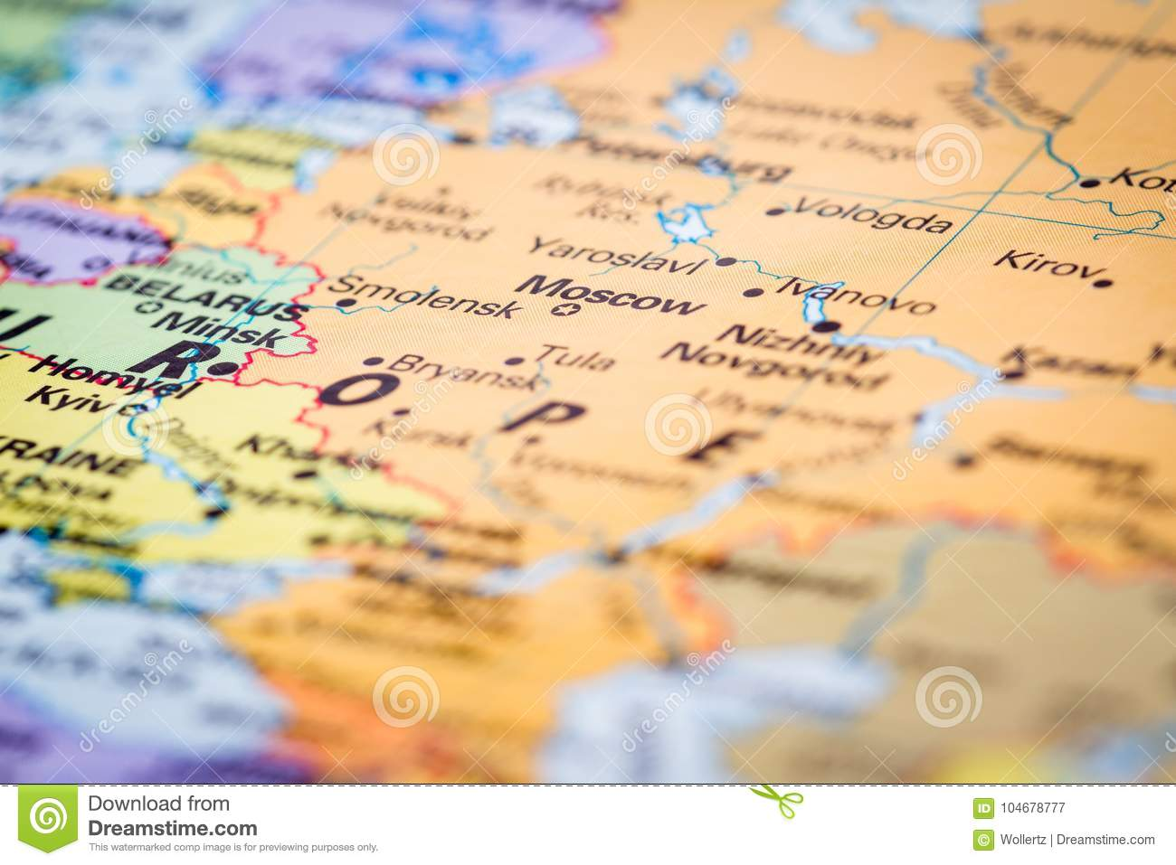 Moscow Russia on a map stock image. Image of region - 104678777