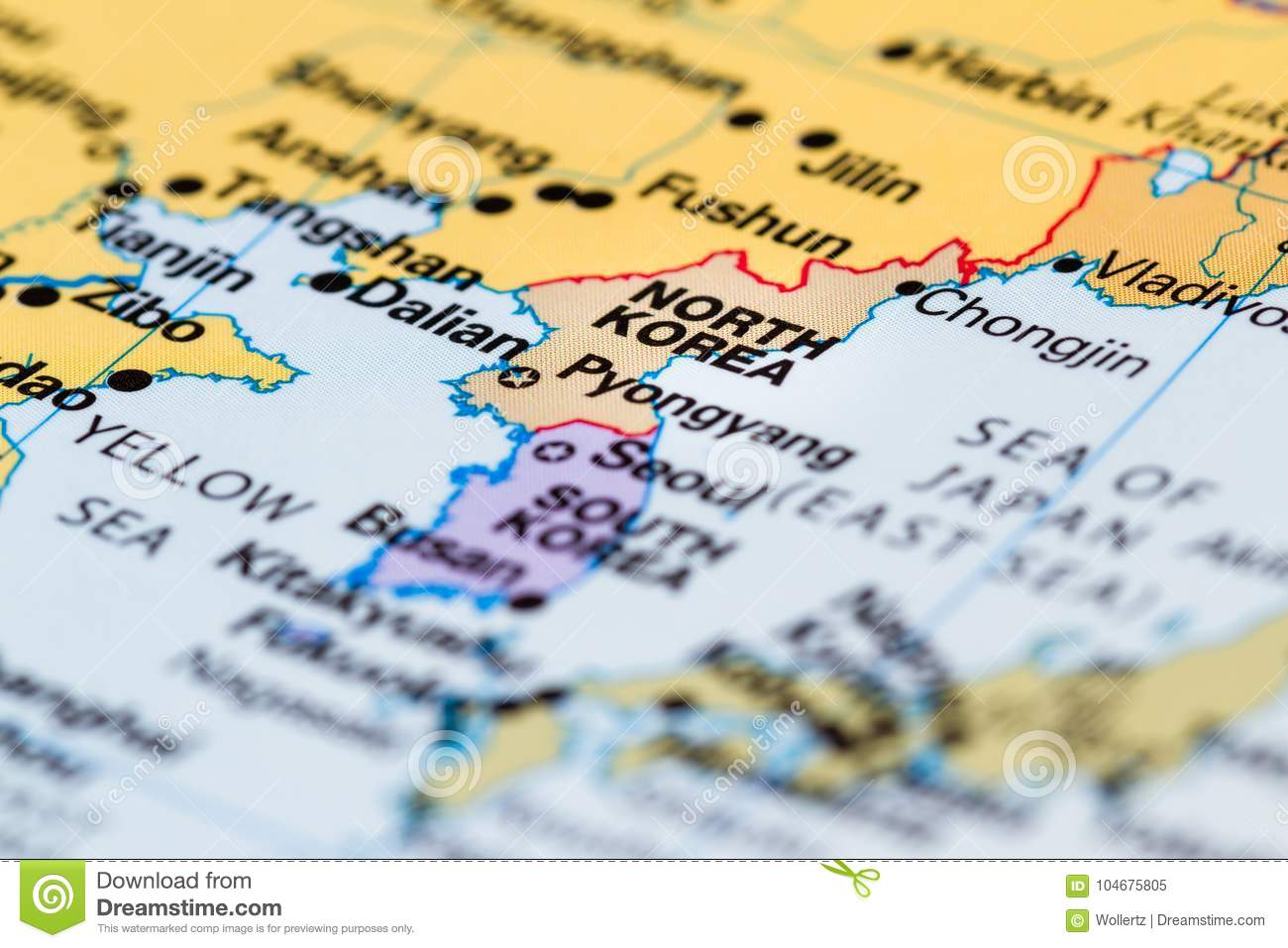 North korea on a map stock image image of countries 104675805 close up of a world map with north korea in focus gumiabroncs Choice Image