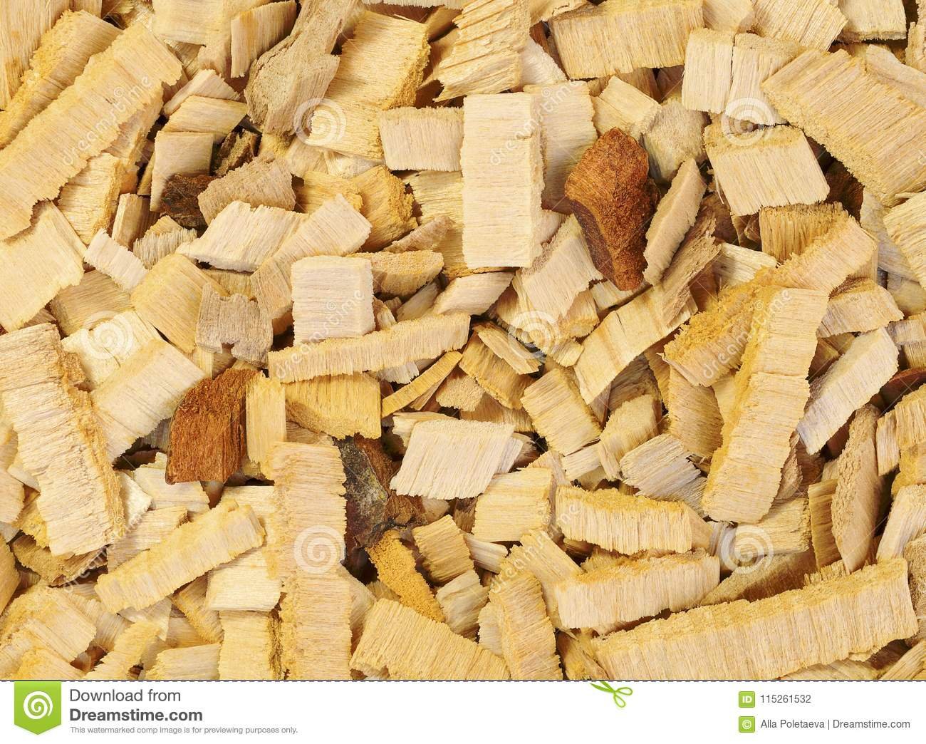 Close up wood chips of alder-tree for smoking or recycle. Texture for background.