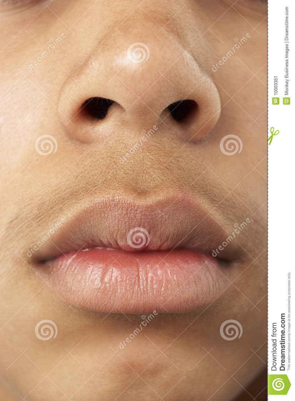Close-Up Of Young Boy s Mouth And Nose