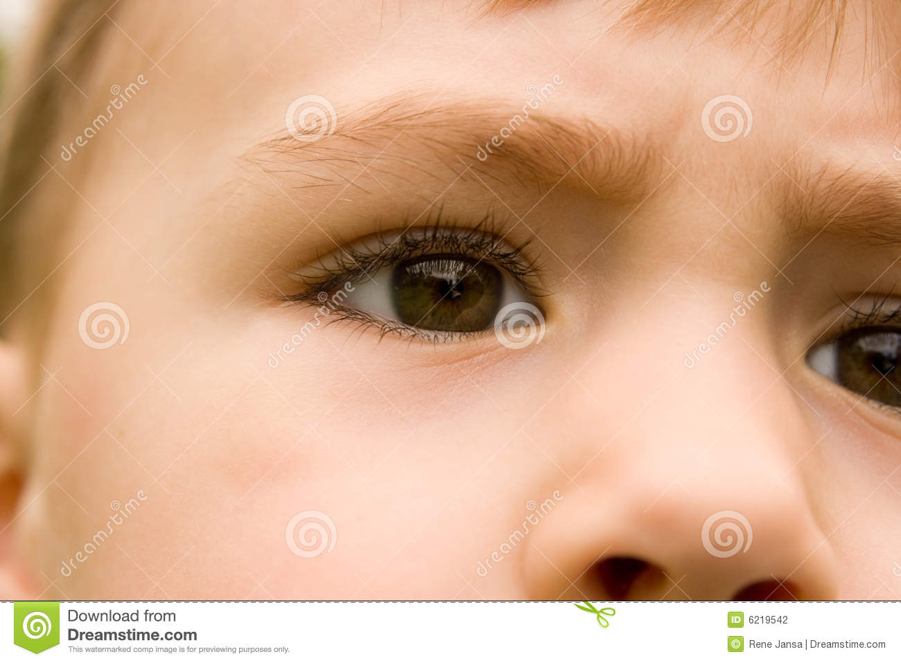 Close up of young boys eyes